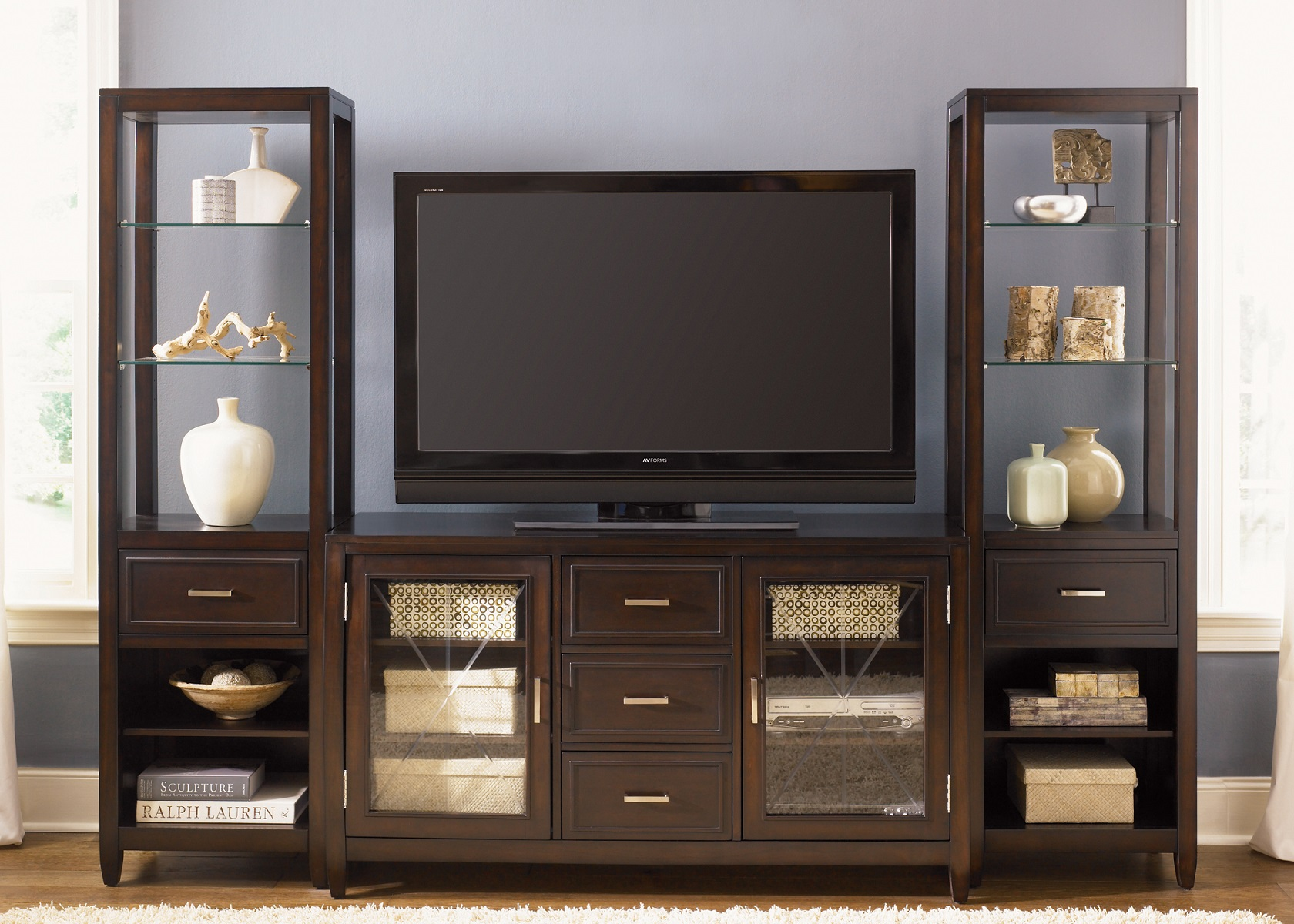 Liberty Caroline Entertainment Center W Piers In Espresso