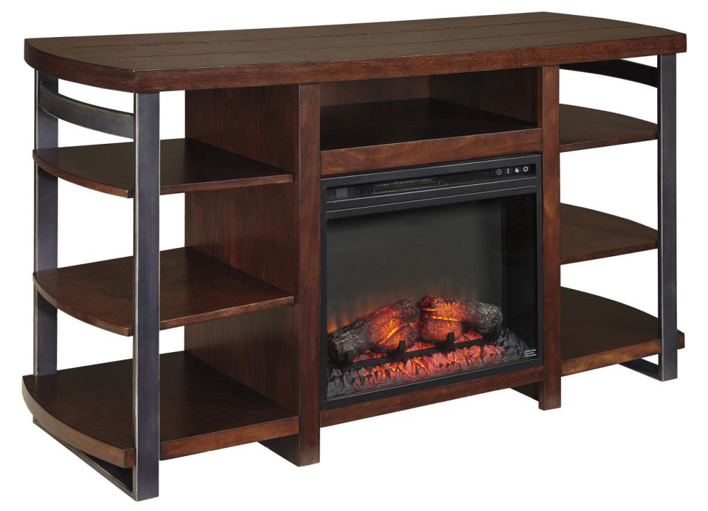 Challiman Large TV Stand W Fireplace In Rustic Brown