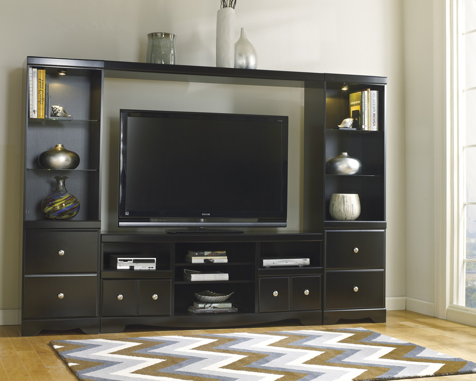 Shay Large Entertainment Unit With TV Stand W Fireplace Option Bridge Amp Two Side Piers In Black