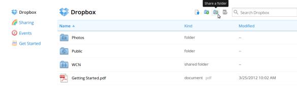 Dropbox sharing folder