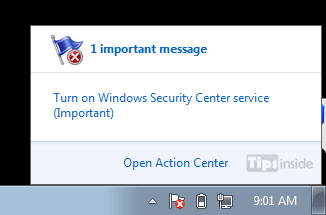 flag message turn on windows security center sertvice