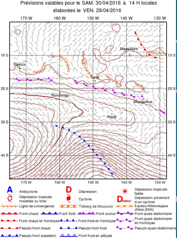 Weather chart from Meteo Polynesia