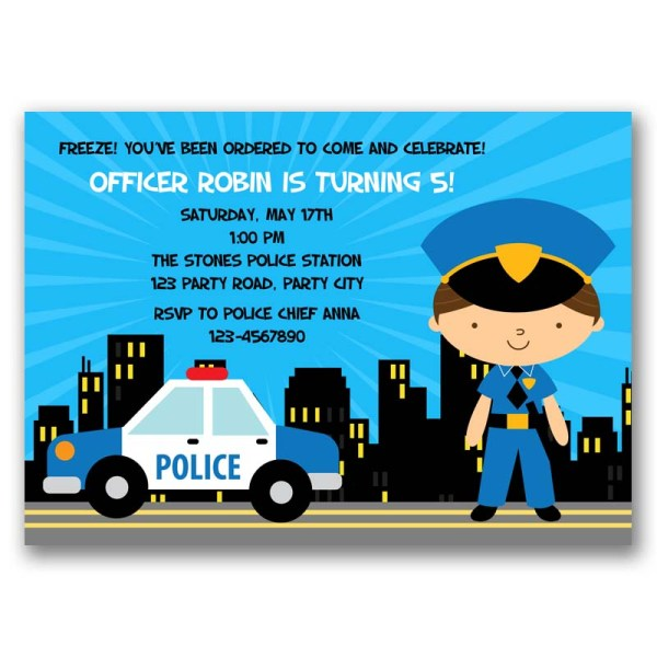 Police Birthday Invitation Boy Girl Tweetpaperie