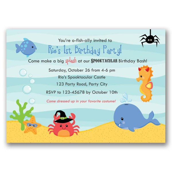 Halloween Under The Sea Birthday Invitation Boy Girl