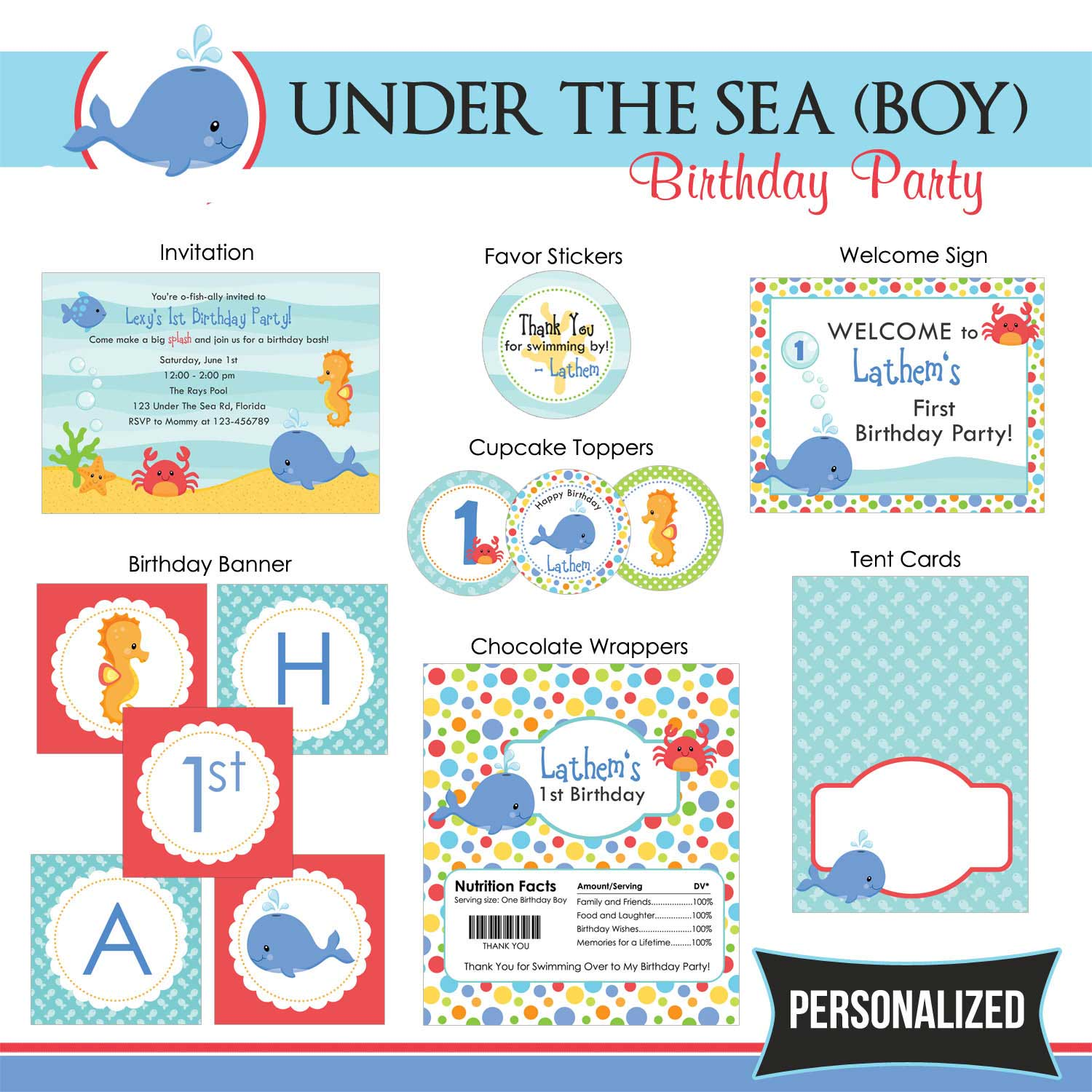 Under The Sea Birthday Party Package (Boy) - TweetPaperie
