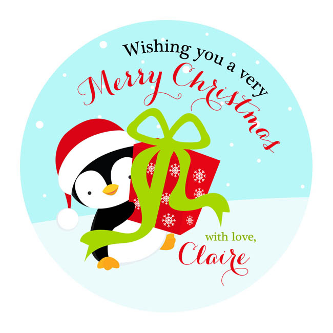 Christmas Stickers.Penguin With Presents Christmas Stickers