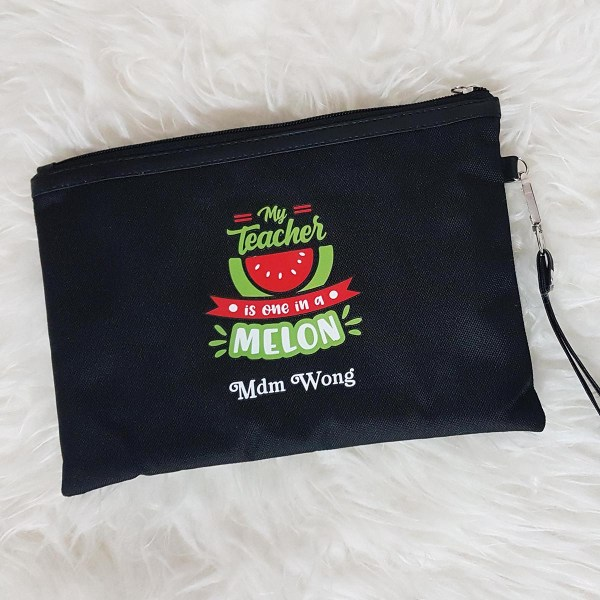 Personalised Pouch for Teachers Singapore - Black Cordura Pouch