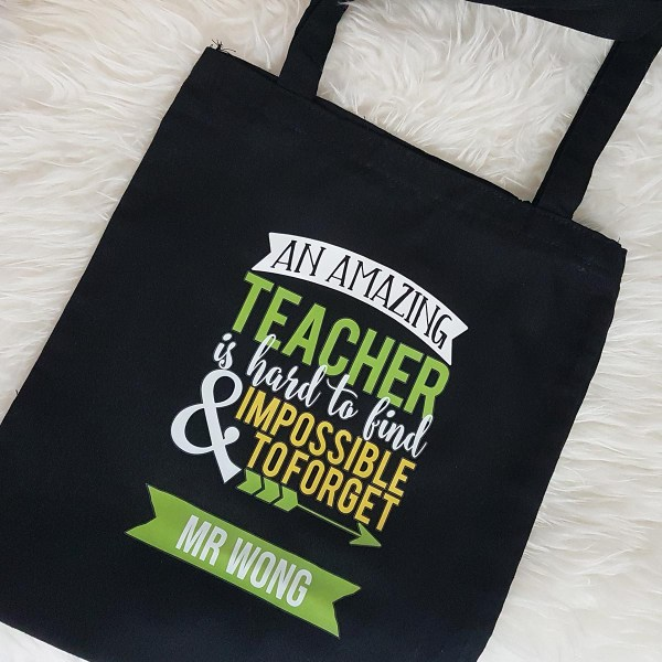 Personalised Teacher Tote Bag Singapore | Black Twill Fabric Totes