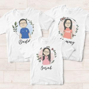 Customised Family T-Shirts Singapore - Cartoon Photo Drawings Illustration