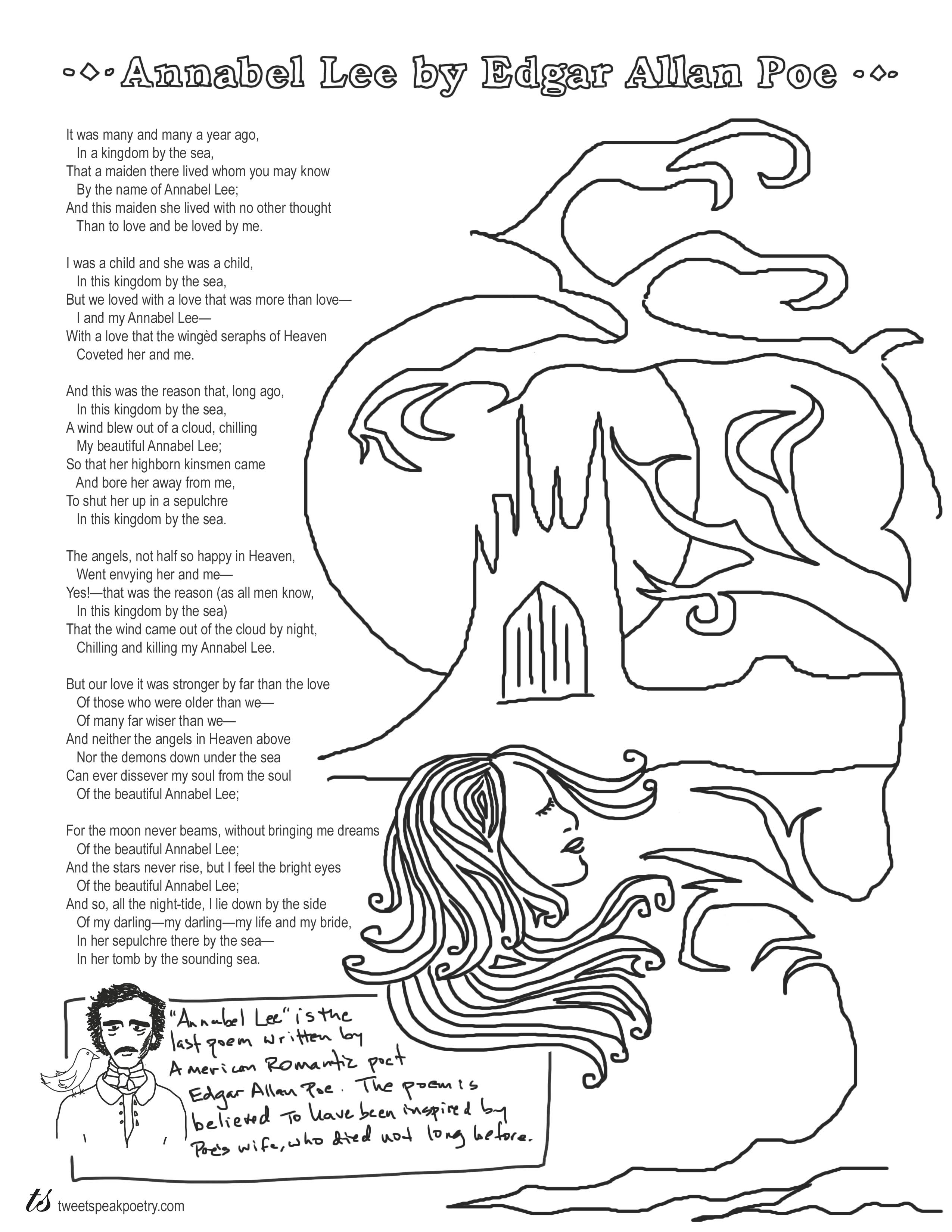 Annabel Lee By Edgar Allan Poe Coloring Page Poems