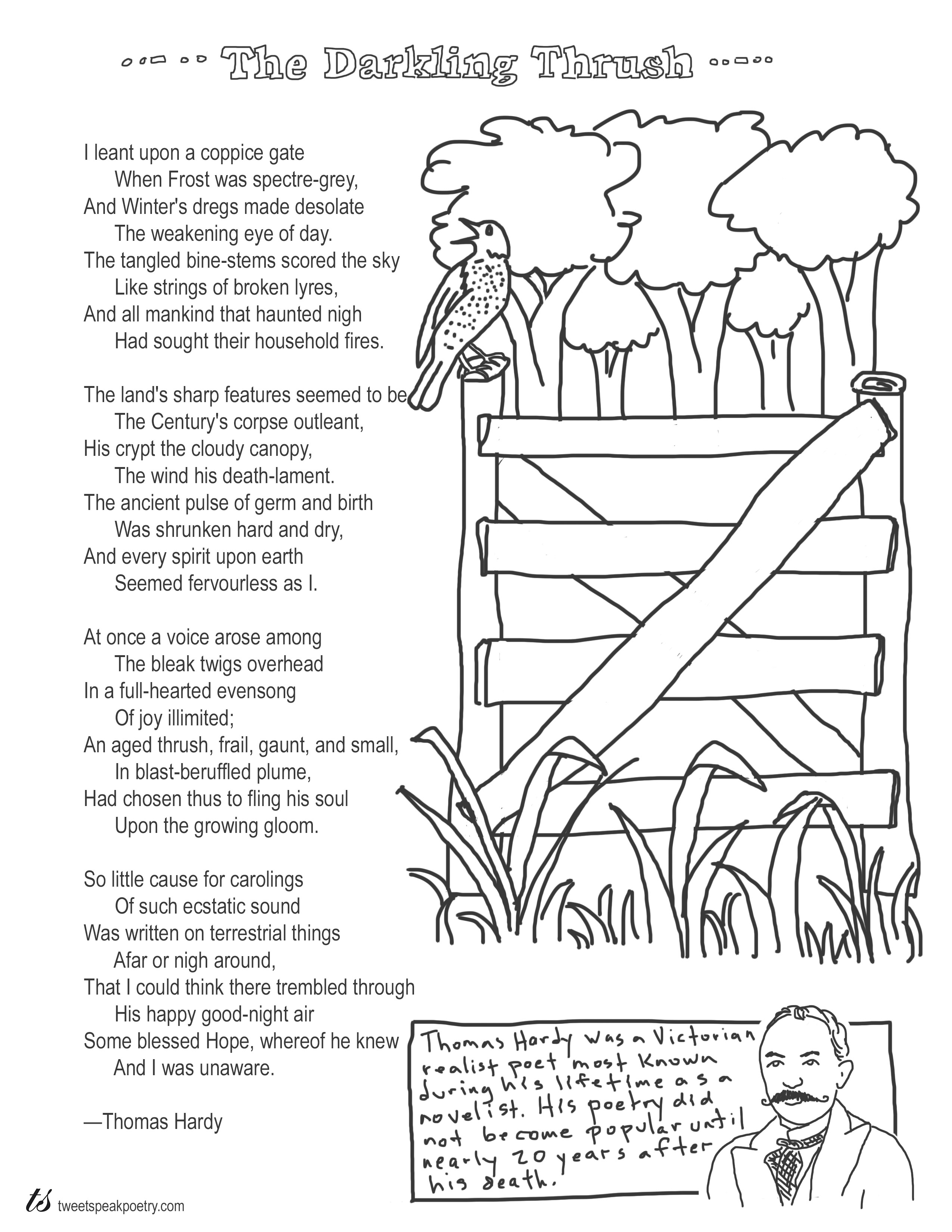 Coloring Page Poems The Darkling Thrush By Thomas Hardy