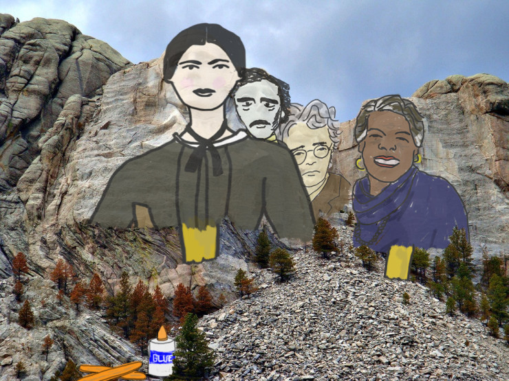 Dickinson Angelou Yates and Poe on Mount Rushmore for Take Your Poet to Work Day