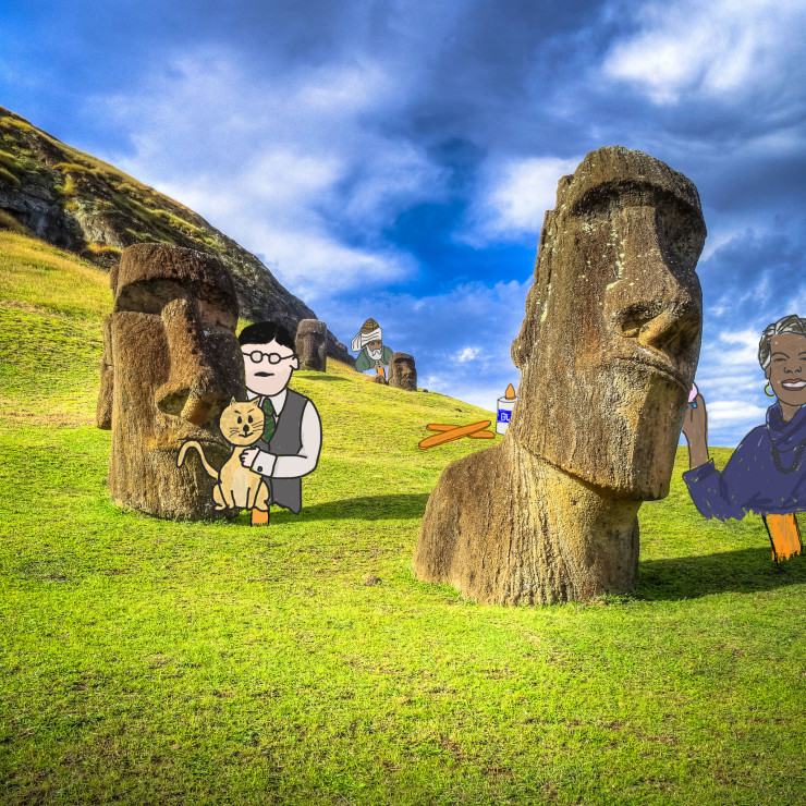 Easter Island with Eliot Rumi and Angelou for Take Your Poet to Work Day
