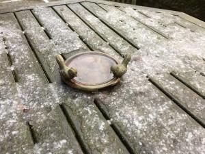 Bird feeder in the snow.