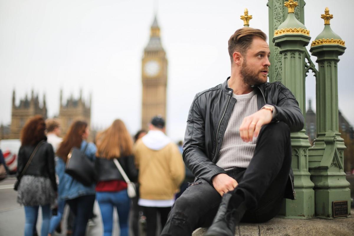 Diesel Leather Jacket River Island Grey Ecru Jumper Zara Black Ripped Skinny Jeans