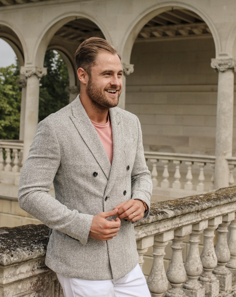 Hardy Amies Mens Grey Herringbone Blazer
