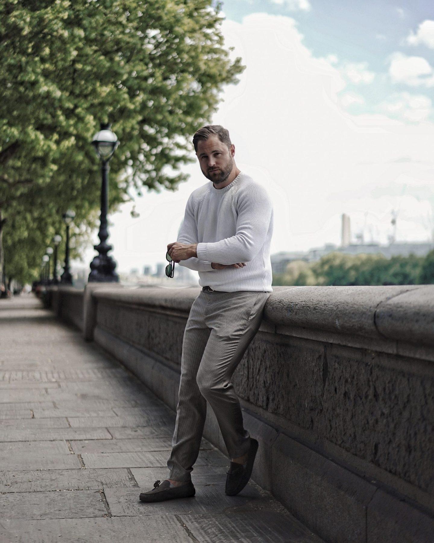 Zara White Sweater and Check Trousers Primark Menswear Spring Fashion