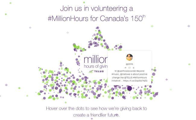 join_TELUS #MILLIONHOURS AND ME TO WE CELEBRATES CANADA'S BIRTHDAY