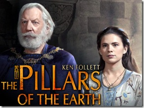 The Pillars of the Earth-Gallery-Sam Claflin as Richard, Donald Sutherland as Bartholomew, Earl of Shiring, & Hayley Atwell as AlienaThe Pillars of the Earth © 2010 Tandem Productions GmbH, Pillars Productions (Ontario) Inc., Pillars Productions (Muse) Inc. All rights reserved.