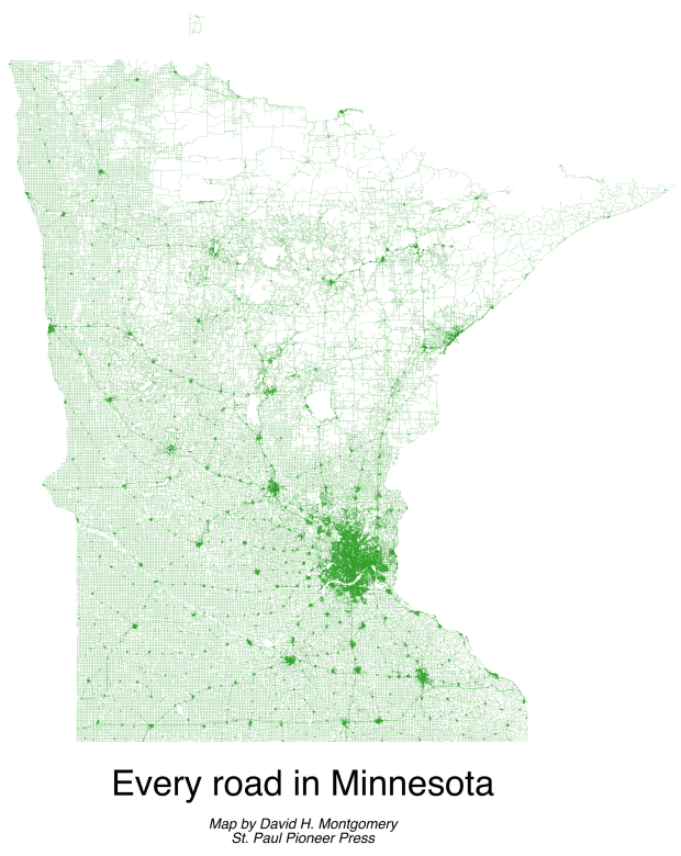 A map of every road in Minnesota. (Pioneer Press: David Montgomery)