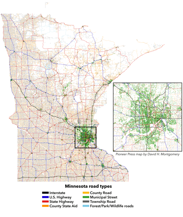 Map of every road in Minnesota, by their classifications. (Pioneer Press: David H. Montgomery)