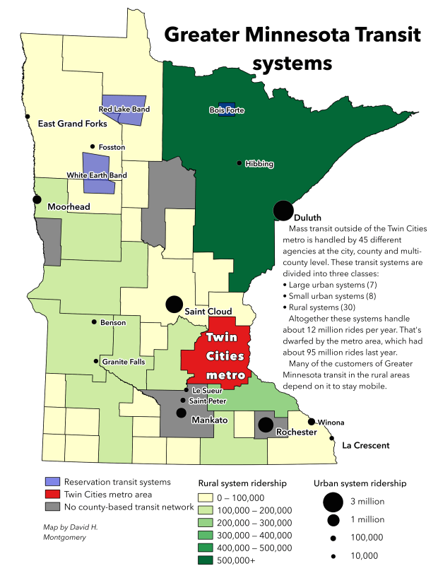 Map showing the different Greater Minnesota transit systems and their ridership, as of 2015. (Pioneer Press: David Montgomery)