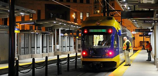 A light rail train makes a stop in downtown St. Paul on Oct. 19, 2013, as workers tested running the trains on select sections of the line. (Pioneer Press: John Autey)
