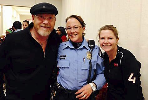 Pat Mackin, left, with his wife, Minneapolis police officer Jeanine Brudenell, and sister-in-law Michon Brudenell. They are pictured in December 2013. Mackin, 62, of Minneapolis, was critically injured in a crash in St. Paul on Dec. 3, 2014. Courtesy photo.
