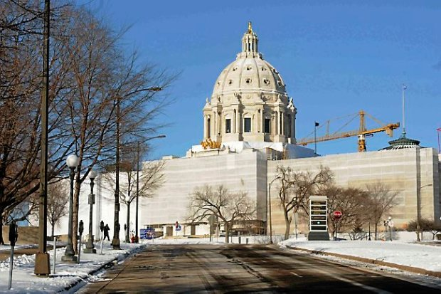 Exterior of the State Capitol in St. Paul undergoing renovation. (Pioneer Press: Scott Takushi)