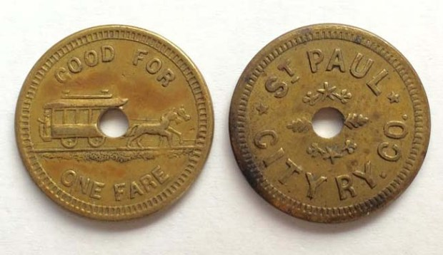 Late 19th century fare tokens for St. Paul's early streetcar system. (Pioneer Press: Nick Woltman)
