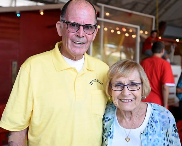 John and Marna Keenan stand at Ye Old Mill at the Minnesota State Fair on opening day of its 100th year, Thursday, Aug. 27, 2015. (Pioneer Press: Holly Peterson)