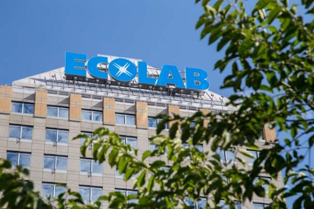 The new Ecolab sign sits atop the old Travelers building in downtown St. Paul on Monday, Sept. 28, 2015. Ecolab recently purchased the building from Travelers. (Pioneer Press: Andy Rathbun)