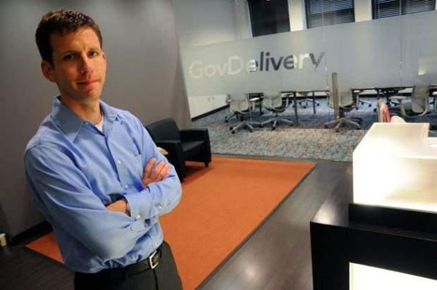GovDelivery Chief Executive Officer Scott Burns stand in the lobby of the company's new home in the Hamm Building in downtown St. Paul Tuesday, June 23, 2009. (Pioneer Press: Brandi jade Thomas)