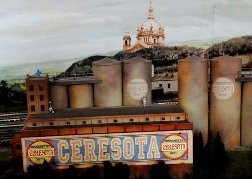 A detail photo showing Ceresota buildings are at a new display at the Twin Cities Model Railroad Museum in its former St. Paul location on October 9, 2010. The display, which features Minneapolis and St. Paul skylines, and 1950s era miniature businesses and interactive features, measures 16 feet by 30 feet and was removed from the second floor of a California home by museum volunteers before it was trucked to St. Paul. (Pioneer Press: Jean Pieri)