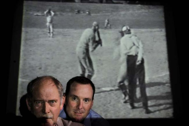 When Rich Oxley, left, of White Bear Lake read a Pioneer Press story about Pete Gorton's efforts to learn more about legendary African-American pitcher John Wesley Donaldson, Oxley realized he had a key piece of Donaldson's story in his basement -- 39 seconds of film shot by his grandfather of a 1925 game in Fergus Falls, Minn., in which Donaldson recorded 18 strikeouts. Finding this film is the sports equivalent to finding the Zapruder film,  said Gorton, center, of Minneapolis, referring to the reel of President John F. Kennedy s assassination in 1963.