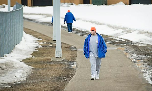 Timothy LaMere, who is serving a 10 year sentence for unintentionally killing his friend Trevor Robinson, walks in the yard at the Minnesota Correctional Facility in Lino Lakes on March 26, 2013. (Pioneer Press: Ben Garvin)