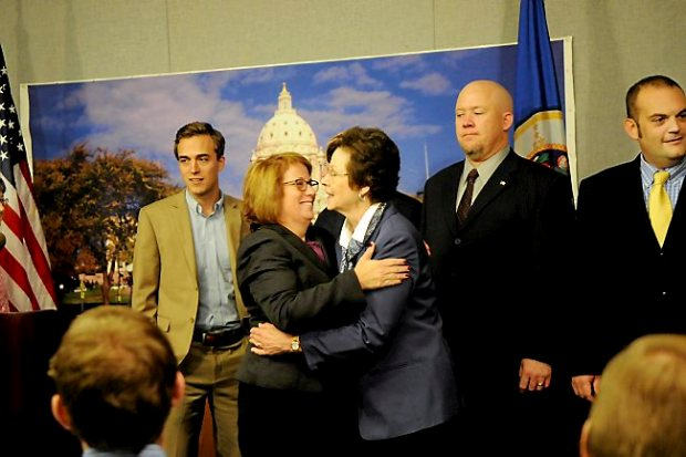Minnesota House Representative Erin Murphy, left, hugs new House Representative JoAnn Ward, who represents S. Maplewood, S. Oakdale, Landfall and W. Woodbury in district 53A, before State Rep. Paul Thissen introduced some of the members of the newly-elected DFL majority in the Minnesota House of Representatives at the Minnesota State Capitol Wednesday, November 7, 2012. (Standing to the right is newly elected Jason Isaacson from District 42B).(Pioneer Press: Jean Pieri)