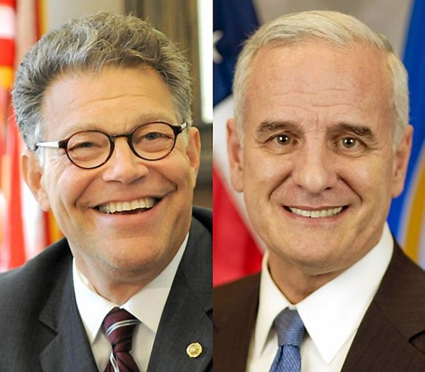 Al Franken, left, and Mark Dayton