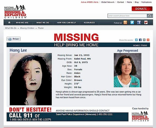 Jan 7, 2014 screenshot from the website of the National Center for Missing & Exploited Children, showing Hang Lee in a photo circa 1993 and in an age-progressed image that shows what she might look like now, at age 36. The 17-year-old from St. Paul was last seen Jan. 15, 1993, getting into a car with a friend and several passengers. The friend returned home but Hang Lee, at the time a senior at Highland Park High School and a waitress at a local restaurant, has not been heard from since. (Courtesy image)