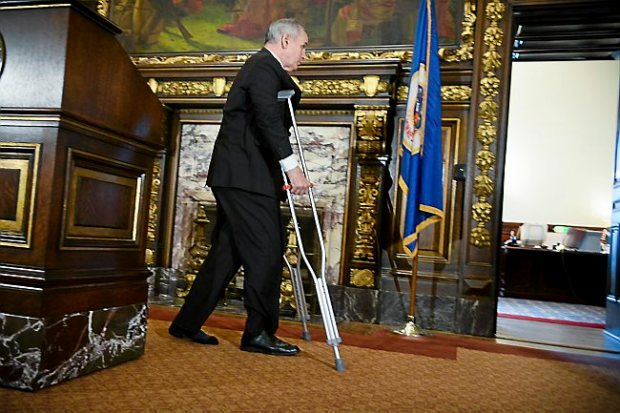 Governor Mark Dayton makes his first public appearance at the State Capitol on Tuesday, March 14, after undergoing surgery on February 10th. (Pioneer Press: Ben Garvin)