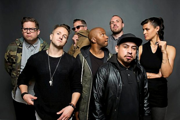 DoomTree are, from left, Paper Tiger, Sims, Cecil Otter, P.O.S., Lazerbeak, Mike Mictlan and Dessa. (Kelly Loverud)