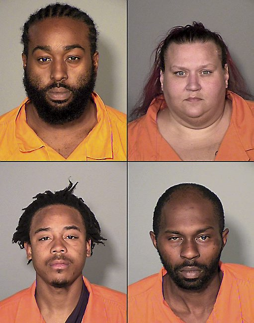 At top, from left, Albert George McIntosh, Michelle Lee Koester; bottom, Isiah Lee Harper, and Alvin Rudolph Bell Jr. (Courtesy of Ramsey County sheriff)
