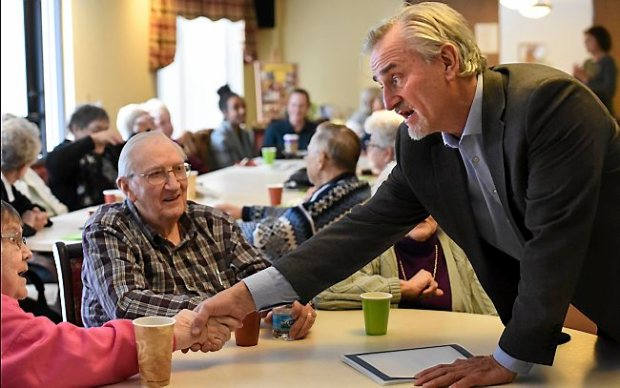 Alan Arthur, CEO of the non-profit Aeon talks to residents at Como by the Lake Senior Apartments on Thursday, January 14, 2016. An event celebrated the new ownership (Aeon) of the Section 8 retirement commuity. Many residents feared they would be kicked out when the property was up for sale. (Pioneer Press: Jean Pieri)