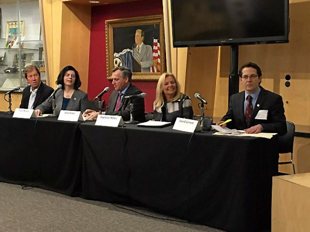 Second Congressional District hopefuls, from left,, Jason Lewis, Pam Myhra, John Howe, Darlene Miller and David Gerson debate Thursday, Jan. 21, 2016, at the University of Minnesota's Humphrey School of Public Affairs