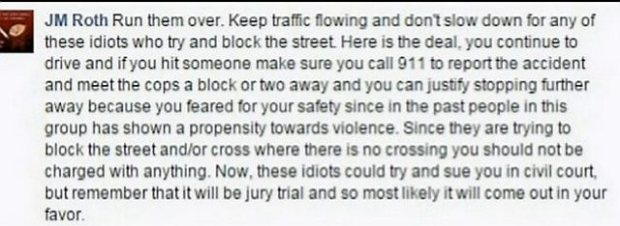 """A Facebook comment by a """"JM Roth"""" advises others to """"run them over,"""" referring to Black Lives Matter marchers. St. Paul police Sgt. Jeffrey Rothecker has apologized for posting the comment."""