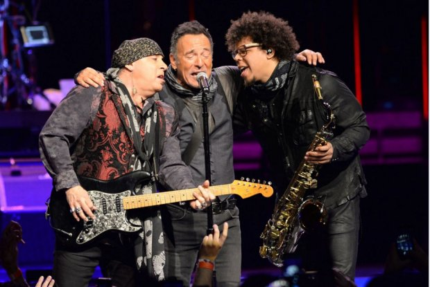 Bruce Springsteen gathers with guitarist Steven Van Zandt and his saxophone player, Jake Clemons on Monday, Feb. 29, 2016, at the Xcel Energy Center. (Special to the Pioneer Press: Holly Peterson)
