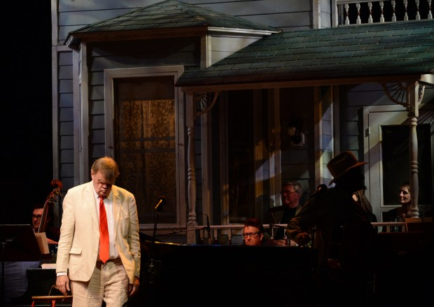 Garrison Keillor gathers his thoughts as he segues into the next act in his last show as host of the Prairie Home Companion at the Fitzgerald Theater in St. Paul, February 27, 2016. (Pioneer Press: John Autey)