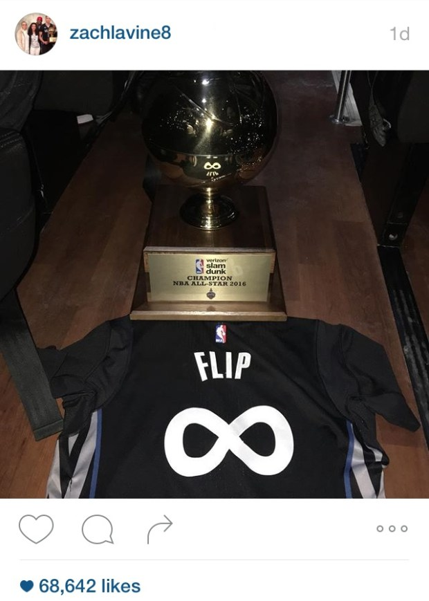 Zach LaVine posted an image of his slam dunk trophy and a jersey commemorating Flip Saunders on Instagram on Saturday night.