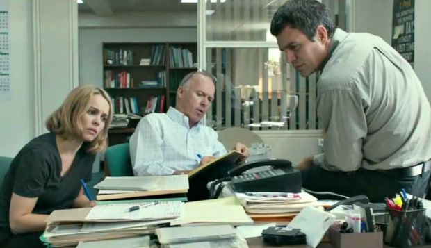 "Oscar nominees Rachel McAdams (left) and Mark Ruffalo (right) star with Michael Keaton in ""Spotlight,"" which is up for six Academy Awards tonight."