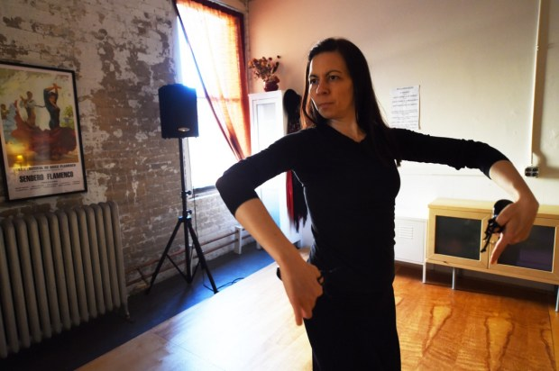 "Tara Weatherly practices a fandango in her ""Studio Sendero"" where she teaches flamenco dancing in the Jax Building in St. Paul's Lowertown on March 1, 2016. The Lowertown arts community is being shaken up as long term renters and artists are being displaced. Weatherly does not know if she will be able to find affordable space elsewhere in Lowertown. (Pioneer Press: Scott Takushi)"